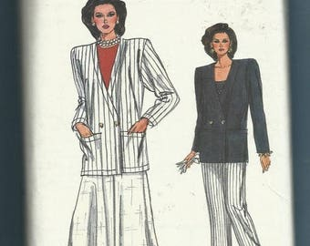 Vintage Vogue 9791 Double Breasted Jacket with Strong Shoulders Ankle Length Flared Skirt & Pleated Pants Size 20-22-24 UNCUT