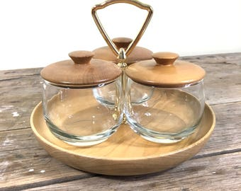 Condiment Bowl set of 3 small pots with tray and lids, Myrtle wood, mid century styled