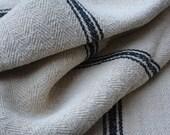 Farmhouse Style Vintage Grain Sack Fabric with 3 Black Stripes, Vintage Homespun Textile, European Grain Sacks, Vintage Supplies