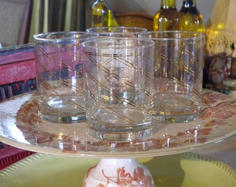 Vintage Culver Glass Signed Four Low Ball Tumblers with Gold Stripes