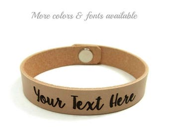 Engraved Bracelet, Personalized Bracelet, Custom Leather Bracelet, Laser Engraved Bracelet, Couples Gifts, Choose Your Text, Boyfriend Gift