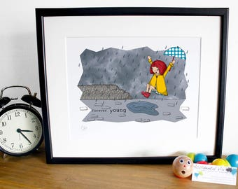 "Girl Forever Young, Puddle Jumping Print (10"" x 12"") unframed"