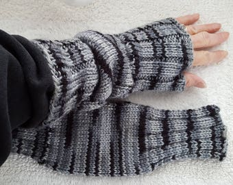 Hand Knit Wrist Warmers / Fingerless Gloves / Texting Gloves Shades of Gray & Black