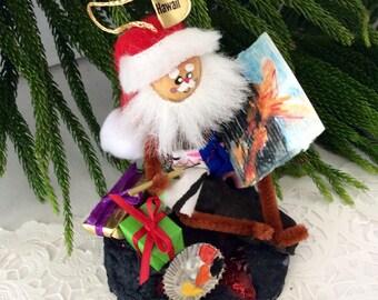 Hawaiian Santa - Mele Kalikmaka - Hawaii St. Nick -  Santa Painting at Volcano National Park - collectible - original - limited edition