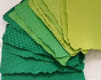 """Handmade Paper - 13 sheets of Green Homemade Paper - acid free - Recycled  - Texture - 5 1/2"""" x 8 1/2"""" - collage supplies - Artist gift idea"""