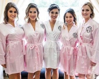 SALE Bridesmaids Monogram Robes, Bride  Robe, Wedding Robes, Satin Robe,Monogram Robes, Monogrammed Robes, Silk Robes, Bride Robes