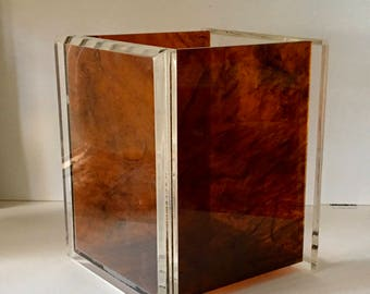 Lucite Wine, Champagne Chiller, Wastebasket, Clear and Tortoiseshell in the style of Charles Hollis Jones