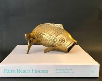 Vintage Solid Brass Koi Fish Sculpture Statue Paperweight Vase