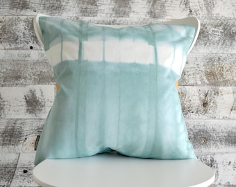 Blue Shibori Pillow Cover 16x16 inches - Sea Glass