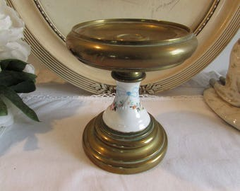 Vintage French brass and porcelain candle holder (for large candle)