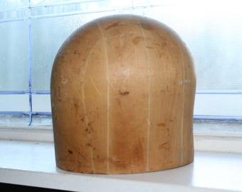 Antique Wood Hat Block Hat Head Form Millinery Hat Mold