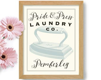 Jane Austen Laundry Room Decor Pride and Prejudice English Decor Laundry Sign Art Print Pemberly Towels Linens Washing Machine Powder Room
