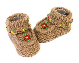 Southwest Rose Moccasin Booties