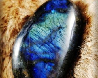 Super Flash Labradorite Pebble || Blues and Golds || Hand Polished || Madagascar