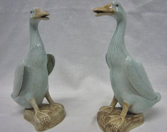 Chinese Celadon Ducks Figurines, Pair