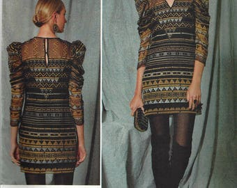 ZANDRA RHODES for VOGUE Designer Original Pattern #v1518~Misses Sz 14-22~Misses' Exaggerated Pleated Sleeve Dress N