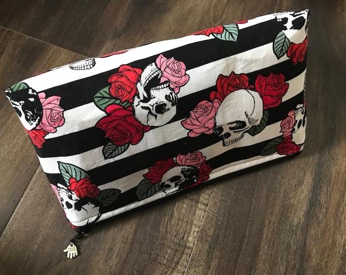 Handmade Skulls & Roses Makeup Pouch