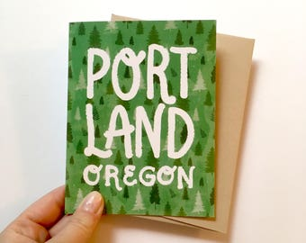 Green Portland, Oregon - A2 Greeting Card with Envelope | PDX | Trees | Forest | PNW