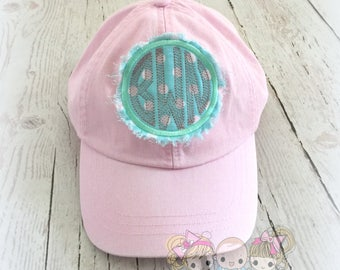Monogrammed baseball hat - monogrammed cap - pink and mint baseball cap - frayed monogram patch - embroidered women's baseball hat