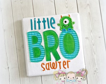 Little brother monster themed shirt- personalized little brother shirt - embroidered little bro shirt - green monster shirt - baby brother