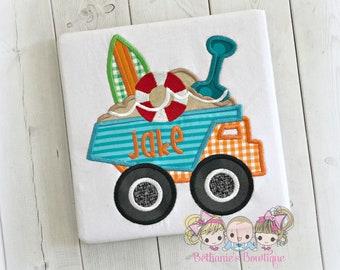 Boy's beach dump truck Shirt- surfboard truck, personalized beach themed shirt for boys - dump truck beach embroidered shirt - summer shirt