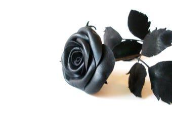 Leather Rose -Black Flower, Long Stem leather rose, 3rd Gift anniversary,