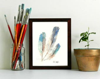Watercolor Feather Print, blue feathers, feather painting, fine art print, watercolor print, giclee, grey feathers, watercolor feathers