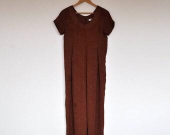 Vintage Boho Hippie Sheer Brown Tiny Polka dot Print Jumpsuit Onesie