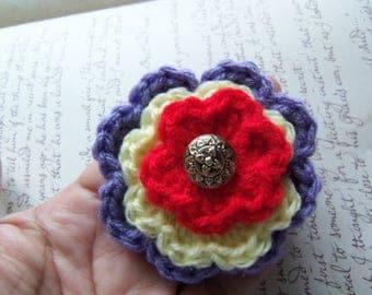 Yellow and Red Flower Brooch. Handmade Crochet Flower Brooch. Layered Flower Brooch or Pin.