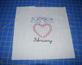 Needlepoint month on muslin February
