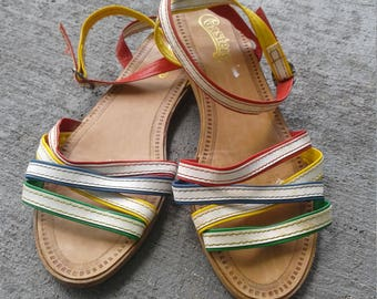 Womems strapoy multi color Coasters sandals size 10