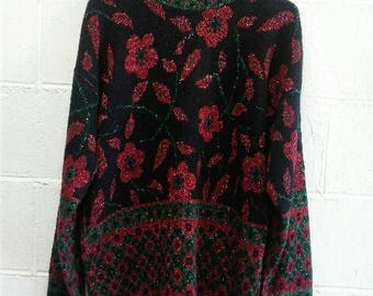 Womens oversized knit floral sweater