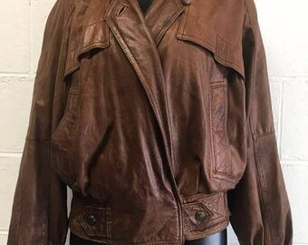 Vintage 80s-90s Brown Leather Bomber Jacket Sz M
