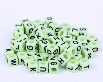 Mint Green Alphabet Beads, acrylic 6mm cube, 300 letter pcs STORE CLOSING DESTASH