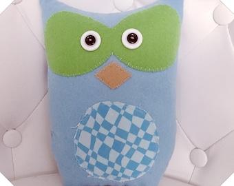 cUsToM oRdEr for JEN Cute Blue Plush Owl Bird Stuffed Animal Softie Plushie Ooak Woodland Animal