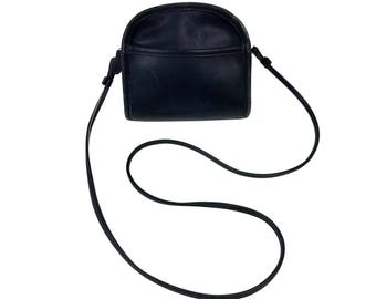 Vintage Coach Abbie Navy Blue Leather Purse // Small Cross-Body Shoulder Bag with Zip Closure and Exterior Slip Pocket, Made in USA L8C-9017