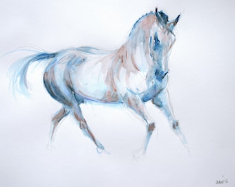Equine horse art LE dressage print horse print horse gift horse lover gift 'Blue I' from an original mixed media home decor wall art