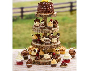 Rustic Cake Stand, 4 Tier Cupcake Stand, Wood Slice Cupcake Stand, Wedding Reception Decor