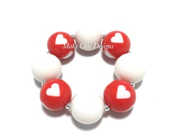 Toddler or Girls Red and White Heart Chunky Bracelet - Valentine's Day Bracelet - Toddler Red Chunky Bracelet - Princess Heart Bracelet