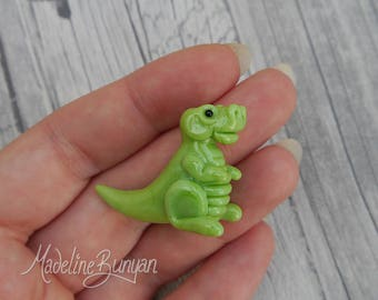Cute Baby Dinosaur - Sculpted Lampwork Bead Focal, Lime Green