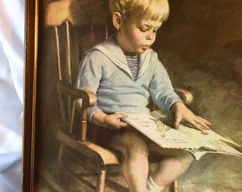 Vintage James Ingwersen Gary Print Boy Reading Framed