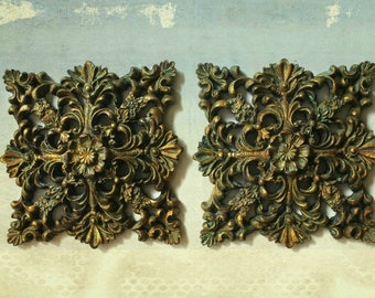 vintage ornate wall accent pair, gilded art, vintage plaques, hollywood regency, romantic decor