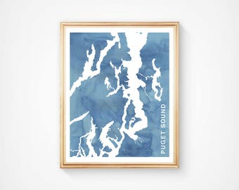 Puget Sound Map - Custom Personalized Wedding Print - I Love the Pacific Northwest - Hometown Wall Art Gift Souvenir - Watercolor Series