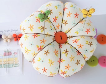 Large Flower and Dandelion Pincushion,  with decorative Pins, Quilting gift, Sewing Supplies