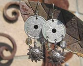 50% OFF Sale - Authentic Danish Kroner Coin Chandelier Earrings - Coin and Sun Chandelier Earrings - Kroner Coin Boho Earrings
