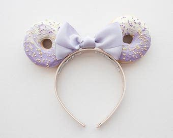 Purple and Yellow Minnie Mouse Ears / Minnie Ears / Mouse Ears / Mickey Ears / Disney Ears / Disneyland Ears / Donut Ears / Disney Headband