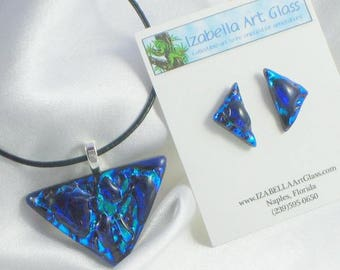 ORION fused glass jewelry pendant with necklace and earrings
