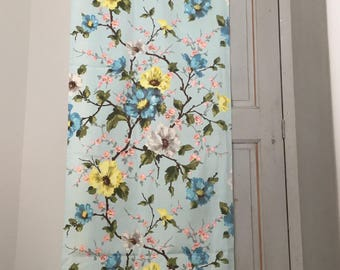 French Vintage long fabric coupon, blue sky with flowers and sherry blossoms