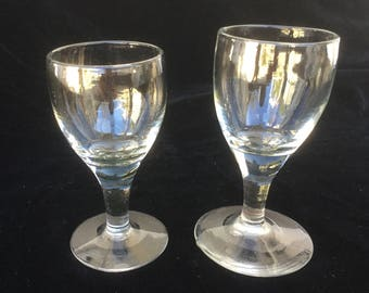 2 small glasses French Vintage, for wine, porto, Handmade, 19th, blowned glassware