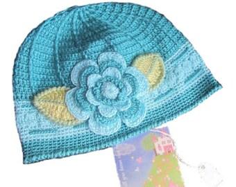 Flower Beanie Hat, Crochet Flower Beanie Hat, Girls Turquoise Flower Hat, Blue Shades Flower Spring Hats Beanie